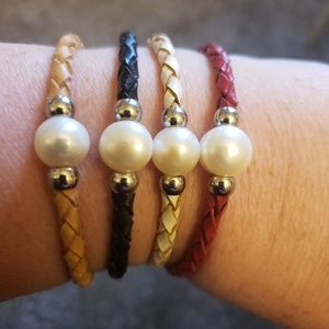 Beautiful leather braided pearl bracelets